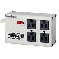 Tripp Lite 4 Outlet Metal Surge Protector 6 ft. Cord 3330 Joules - Light Gray