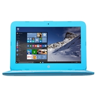 "HP Stream 11-y010nr 11.6"" Laptop Computer - Textured Linear Grooves in Aqua Blue"