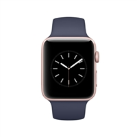 Apple Watch Series 2 42mm Rose Gold Aluminum Smartwatch - Midnight Blue Sport Band