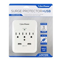CyberPower Systems P300WURC2 3-Outlet Surge Protector w/ 2 USB Ports