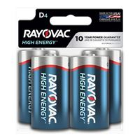 Rayovac Alkaline D Battery 4-Pack