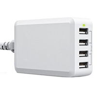 Inland 4-Port USB Charger-White
