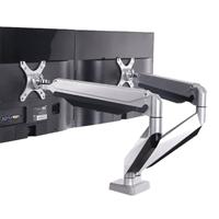 Locktek Full Motion Gas Spring Dual-Arm Desk Mounts Monitor Arm 10''-27''