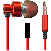 Sentry HM394 Metal Stereo Earbuds w/ Mic - Red