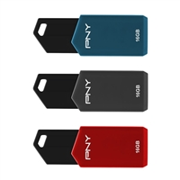 PNY 16GB Retractable USB 2.0 Flash Drives - 3 Pack