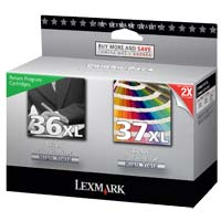 Lexmark 36XL/37XL Black/Color Return Program Ink Cartridge Combo Pack