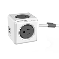 Allocacoc Corp PowerCube Extended 4-Outlet Surge Protector w/ Dual USB Ports & 5 ft. Cord - Gray
