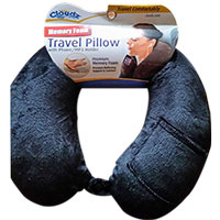Cloudz Memory Foam Travel Neck Pillow with Snap & Pocket