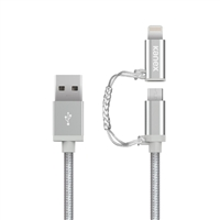 Kanex 4 ft. Premium Micro-USB & Lightning Connector Adapter - Silver