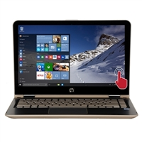 "HP Pavilion x360 Convertible m3-u103dx 13.3"" 2-in-1 Laptop Computer Refurbished - Modern Gold and Ash Silver with Horizontal Brushing in Linear Wood"
