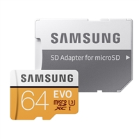 Samsung 64GB EVO microSDXC Class 10/UHS-1/U3 Flash Memory Card with Adapter