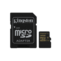 Kingston 32GB Gold microSDHC Class 10/UHS-1/U3 Flash Memory Card with Adapter