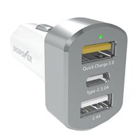 Digipower 3 port Car Charger with One USB Type-A Quick Charge 3.0