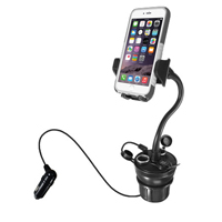 MacAlly Car Cup Holder Phone Mount with USB Charger and 2 Sockets