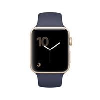 Apple Watch Series 2 42mm Gold Aluminum Smartwatch - Midnight Blue Sport Band