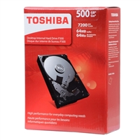 "Toshiba P300 500GB 7,200 RPM SATA III 6Gb/s 3.5"" Desktop Internal Hard Drive - HDWD105XZSTA"