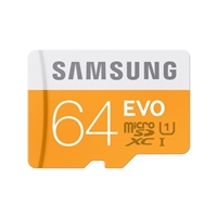 Samsung 64GB EVO microSDXC Class 10 Flash Memory Card with Adapter