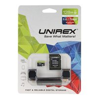 Unirex 128GB microSDXC Class 10 / UHS-1 Flash Memory Card with 5-in-1 Reader and Adapter