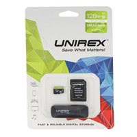 Unirex 128GB microSDXC UHS-1/Class 10 Flash Memory Card with USB 3.0 Reader and Adapter