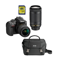 Nikon D3400 DSLR Camera with 18-55mm and 70-300mm Lenses