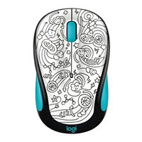 Logitech M325c Doodle Collection Wireless Optical Mouse - Brainstorm Teal