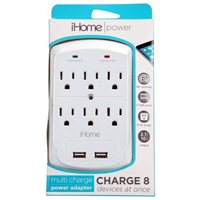 iHome iHome Multi Charge Power Adapter: Hex 2.1A, 2 USB - White