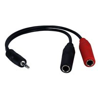 """QVS 3.5mm Male to Dual-1/4"""" TS Female Adapter Cable"""