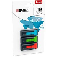 Emtec International 16GB Slide Flash Drive 3-Pack