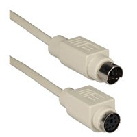 QVS PS/2 Male to PS/2 Female Keyboard/Mouse Extension Cable 50 ft. - Beige