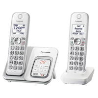 Panasonic Comfort Cordless Telephone with Digital Answering Machine 2 Handsets - White