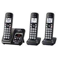 Panasonic Link2Cell Bluetooth Cordless Phone with Voice Assist and Answering Machine - 3 Handsets