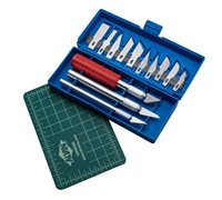 AMX3d 3D Print Clean-Up Kit - 17 Piece Steel Collet Knife Set with Self-Healing Cutting Pad