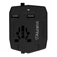 Aluratek Universal Travel Adapter with Dual USB and Built-In Battery Charger