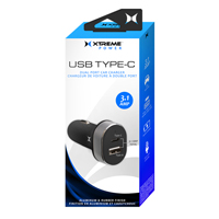 Xtreme Cables USB Type-C + USB Type-A Dual Port Car Charger 3.1A