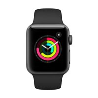 Apple Watch Series 3 GPS 38mm Space Gray Aluminum Smartwatch - Black Sport Band