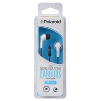 Polaroid PH783 Noise Isolating Earbuds w/ In-line Mic - White