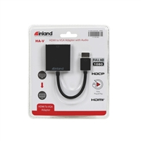 Inland HDMI Male to VGA Female Adapter w/ Audio Support - Black