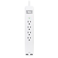 4 Outlet Surge Protector 540 Joules w/ 2 USB charging ports – White