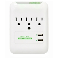 Inland 3-outlet Wall Tap Surge Protector 540 Joules w/ 2 USB charging ports – White
