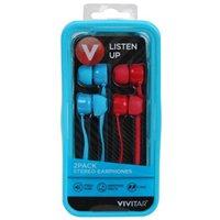 Vivitar Earbuds - Blue (2-Pack)