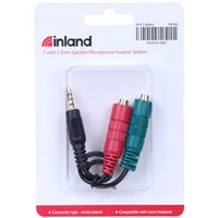 Inland 3.5mm Male to Dual 3.5mm Female Stereo Audio Jack Splitter - Black