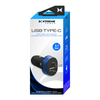 Xtreme Cables USB Type-C + USB Type-A Dual Port Car Charger 3.1A - Blue