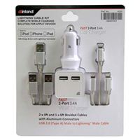 Inland Car/Wall Lightning Cable Charging Kit - White