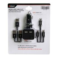 Inland Car/Wall Micro-USB Cable Charging Kit - Black