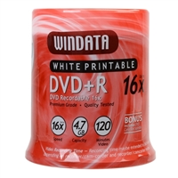 Windata Hub Printable DVD+R 16x 4.7GB/120 Minute - 100 Pack