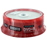 Windata Hub Printable DVD+R Silver 16x 4.7GB/120 Minute Disc 25 Pack