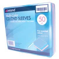 Inland CD/DVD Sleeves with Index Strips - 5 Assorted Colors 50 Pack