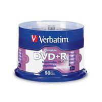 Verbatim Verbatim DVD R 4.7GB 16X Life Series White Inkjet Printable, Hub Printable 50PK Spindle