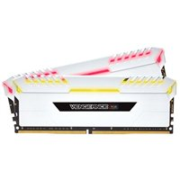 Corsair Vengeance RGB White 32GB 2 x 16GB DDR4-3200 PC4-25600 CL16 Quad Channel Desktop Memory Kit