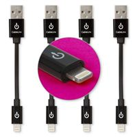 Limitless Innovations Lightning Male to USB 2.0 (Type-A) Male Flat Data/Sync Cable (4-Pack) 3.5 in. - Black